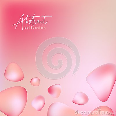 Abstract pastel pink, red vector trendy background with fluid gradient 3d shapes, liquid colors. Isolated fluid design elements. Stock Photo