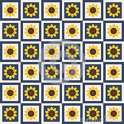 Abstract Pattern Background With Colorful Squares And Sunflowers Vector Illustration