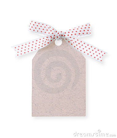 Free Abstract Pattern Gift Tag With Red Dot Ribbon(with Clipping Path Royalty Free Stock Image - 2051176