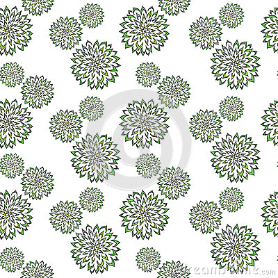 Abstract pattern with hand drawn green flowers. Used for textile, wrapping paper, wallpaper, scrap booking, background for Stock Photo