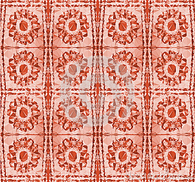 Abstract pattern with stylized red flowers