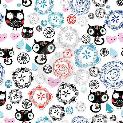 Free Abstract Pattern With Kittens And Owls Royalty Free Stock Photo - 21891355