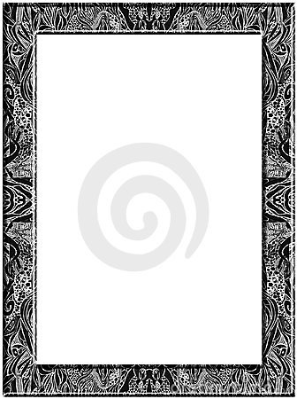 abstract drawing of leaves whirls spots curved lines black and white frame pen drawing