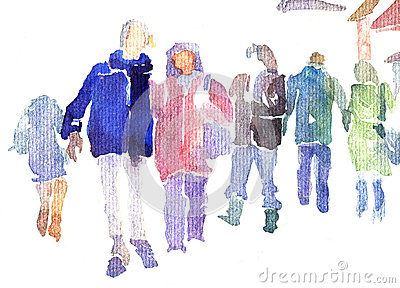 Abstract people walking in street