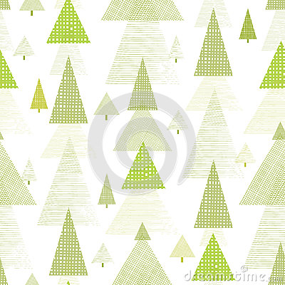 Abstract pine tree forest seamless pattern