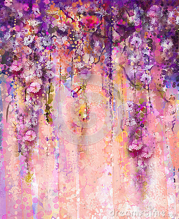Free Abstract Pink And Violet Color Flowers, Watercolor Painting. Han Royalty Free Stock Photo - 57819005