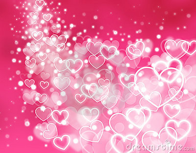 Abstract pink background - glowing hearts
