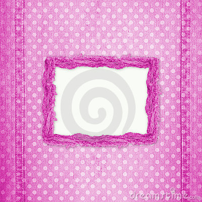 Abstract pink jeans background with hole