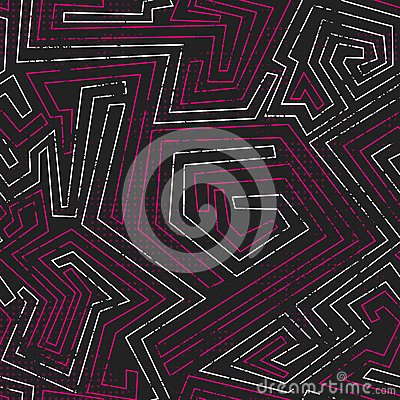 Abstract pink tribal seamless pattern with grunge effect