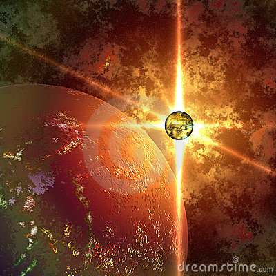 Abstract planet and sun