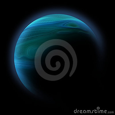 Abstract planet with sun flare in deep space