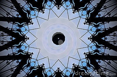 Abstract pulley shape mandala Stock Photo
