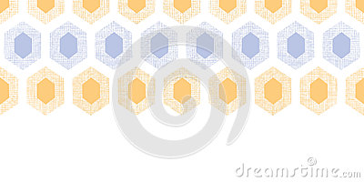 Abstract purple yellow honeycomb fabric textured horizontal seamless pattern background
