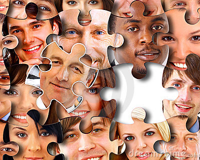 Abstract puzzle-people background