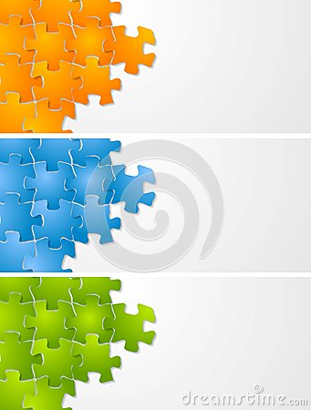 Free Abstract Puzzle Vector Banners Royalty Free Stock Photo - 36632445