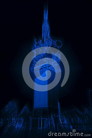 Abstract Radiant Neon Blue Telecommunications Tower