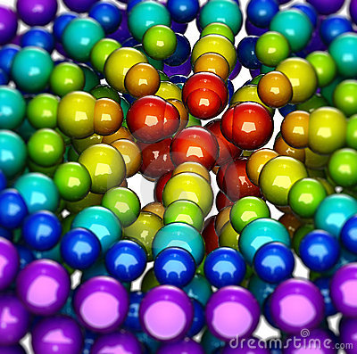 Abstract, rainbow-like group of shiny spheres
