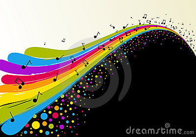 Abstract rainbow and music