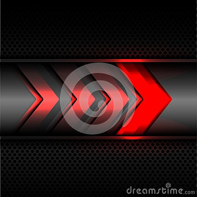 Free Abstract Red Arrow Power Light Technology On Dark Gray Metal Circle Mesh Design Modern Futuristic Background Texture Vector. Stock Photography - 104415362