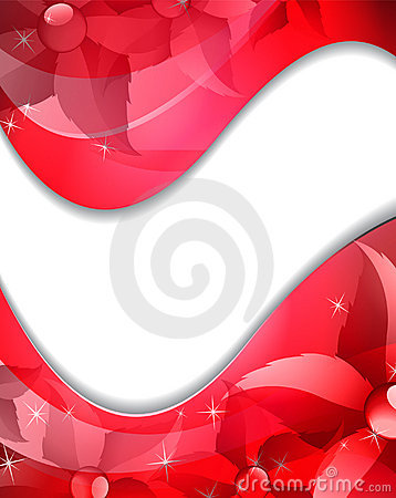 Abstract red background with transparent flowers