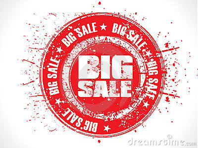Abstract red big sale grunge stamp
