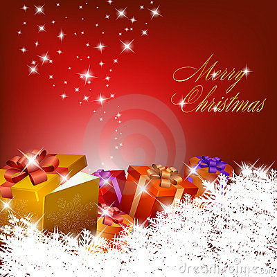Free Abstract Red Christmas Background With Gift Boxes Stock Photography - 17055332