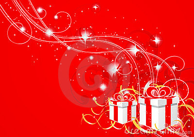 Abstract red Christmas gifts