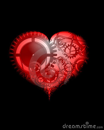Abstract red design steampunk heart