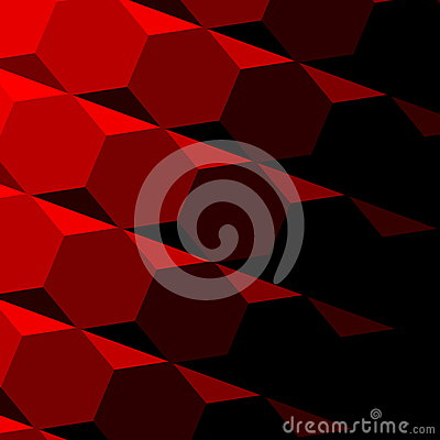 Abstract Red Geometric Texture. Dark Shadow. Technology Background Pattern. Repeatable Hexagon Design. Digital 3d Image. Tilt. Stock Photo