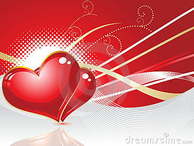 Abstract red heart with wave