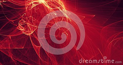 Abstract red, orange, gold light glows, beams, shapes on dark background Stock Photo