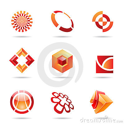 Abstract red and orange Icon Set 24
