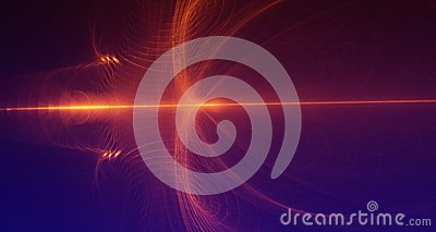 Abstract red and orange light glows on dark blue background Stock Photo