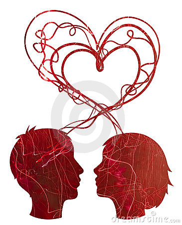 Abstract red silhouette of couple heads