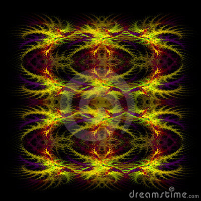 Abstract red and yellow symetrical fractal backgro