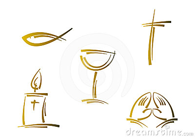 Abstract religious symbol set (gold)
