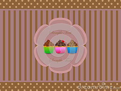 Abstract retro background with muffin