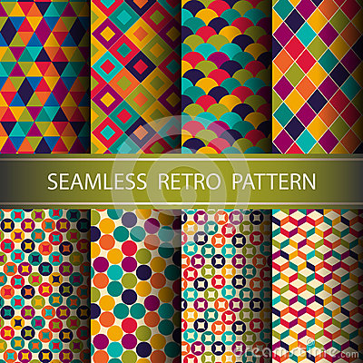 Abstract Retro Geometric seamless pattern. Vector Illustration