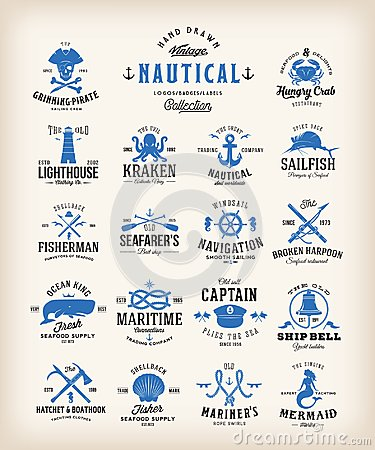 Free Abstract Retro Nautical Labels Collection. Vintage Sea Emblems, Signs Or Logo Templates. Whales, Anchors, Octopus Stock Photography - 109828262