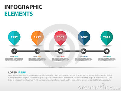 Abstract roadmap business timeline Infographics elements, presentation template flat design vector illustration for web design Vector Illustration