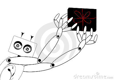 Abstract robot deliver gift