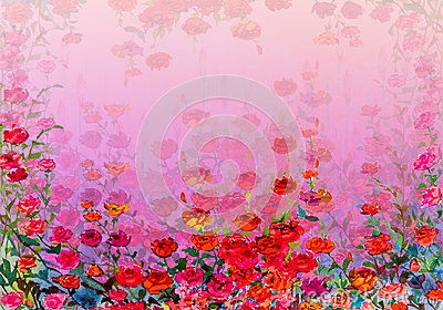 Abstract roses watercolor painting. Hand painted. Stock Photo