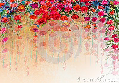 Abstract roses watercolor painting. Stock Photo