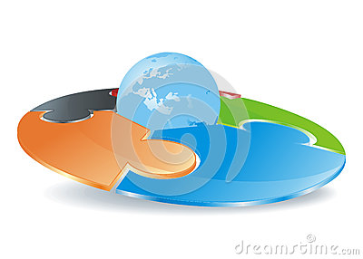 Abstract round puzzle field with globe