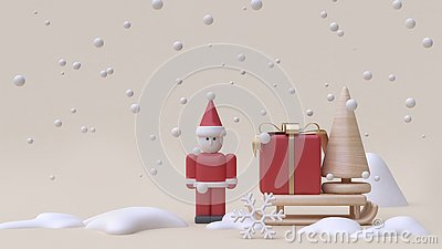 abstract santa claus and gift box sled winter snow new year concept cartoon style wood toy minimal cream background 3d render Stock Photo