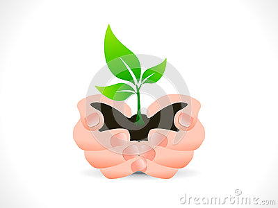 Abstract save plant icon