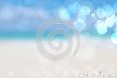 Abstract sea background. Abstract sandy summer beach background with bokeh lights on light blue sky. Beautiful texture. Space Stock Photo