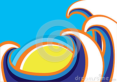 Abstract sea waves poster. Color