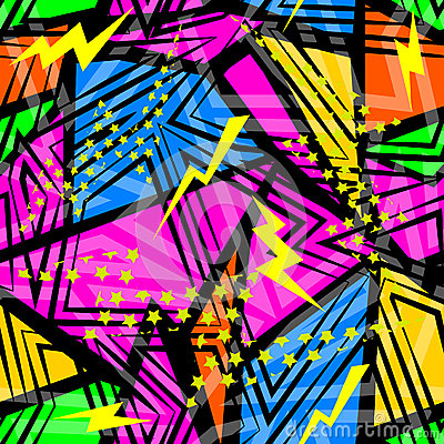 Free Abstract Seamless Chaotic Pattern With Urban Geometric Elements Triangles. Grunge Neon Texture Background. Stock Photo - 72205980
