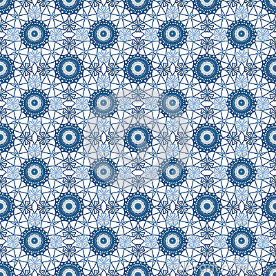 Abstract seamless fabric blue lace pattern on white Stock Photo